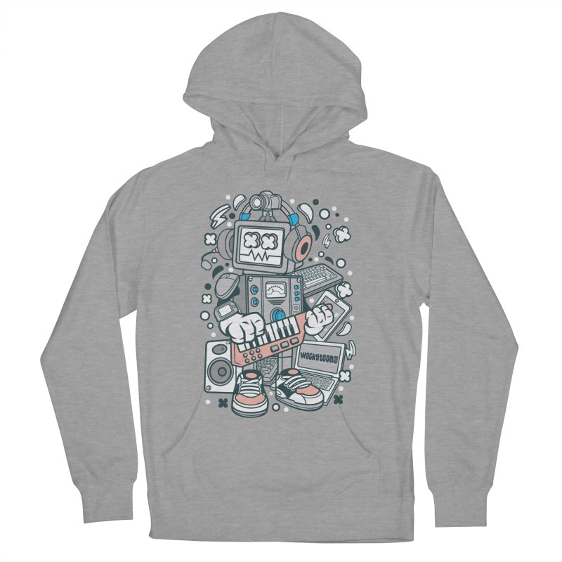 Techno Robot Men's French Terry Pullover Hoody by WackyToonz