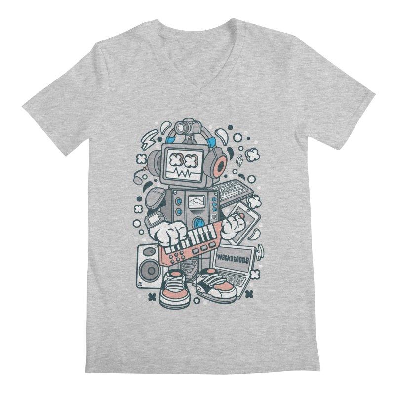 Techno Robot Men's Regular V-Neck by WackyToonz
