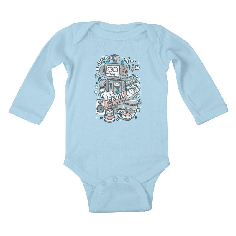 Techno Robot Kids Baby Longsleeve Bodysuit by WackyToonz