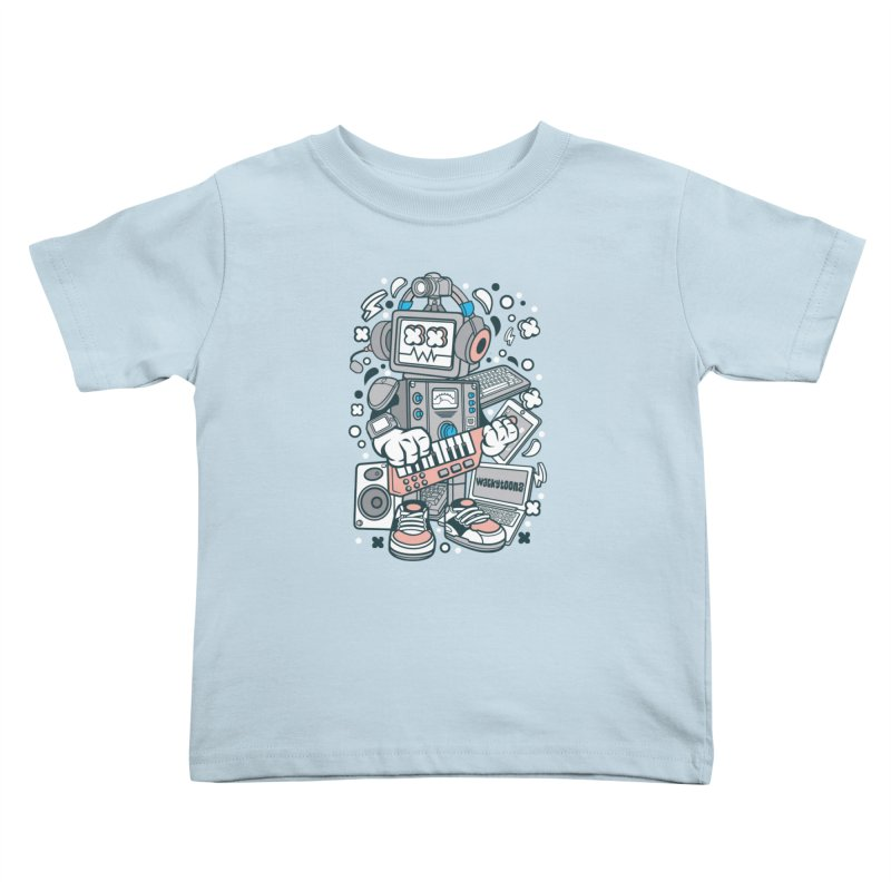 Techno Robot Kids Toddler T-Shirt by WackyToonz