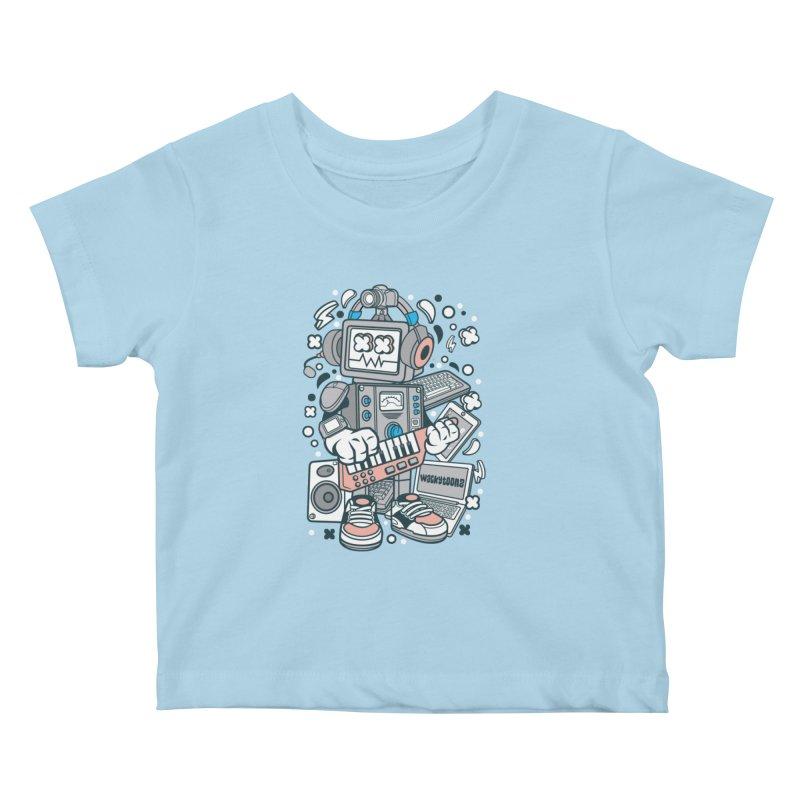 Techno Robot Kids Baby T-Shirt by WackyToonz