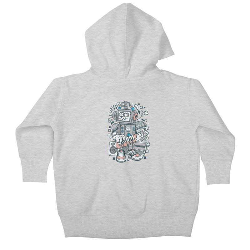 Techno Robot Kids Baby Zip-Up Hoody by WackyToonz