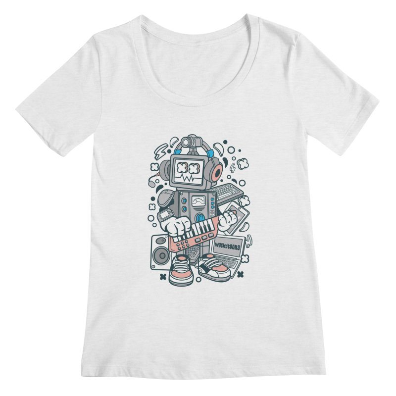 Techno Robot Women's Regular Scoop Neck by WackyToonz