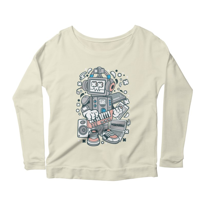 Techno Robot Women's Scoop Neck Longsleeve T-Shirt by WackyToonz