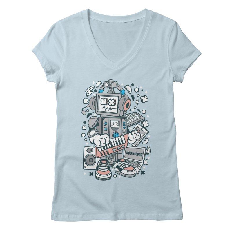 Techno Robot Women's Regular V-Neck by WackyToonz