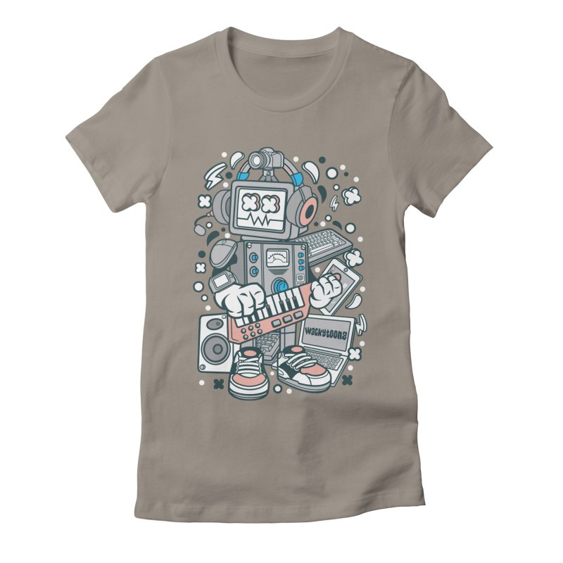 Techno Robot Women's Fitted T-Shirt by WackyToonz