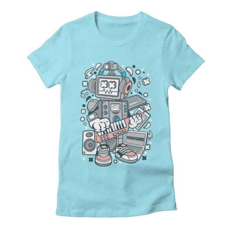 Techno Robot Women's Fitted T-Shirt by WackyToonz