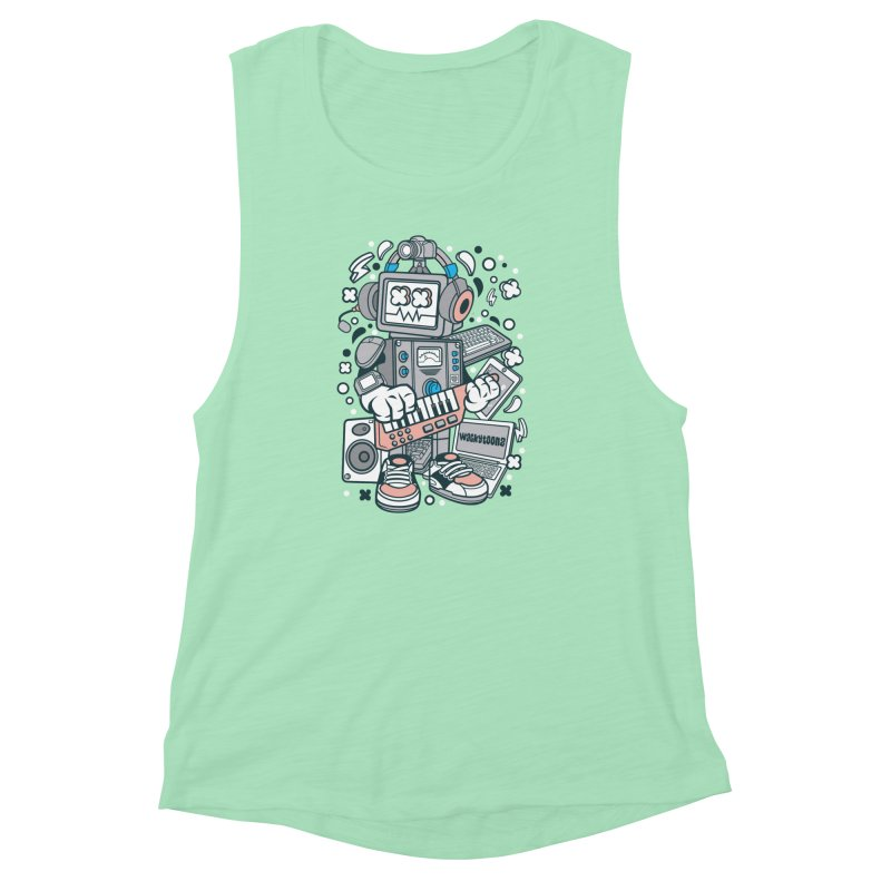 Techno Robot Women's Muscle Tank by WackyToonz