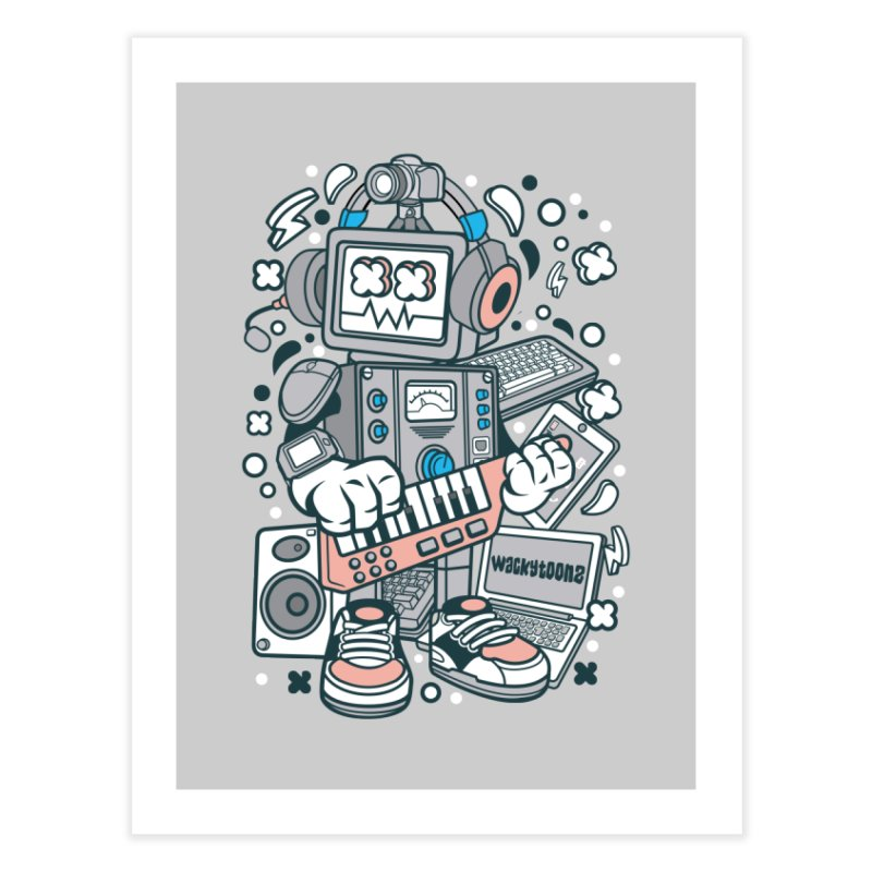 Techno Robot Home Fine Art Print by WackyToonz