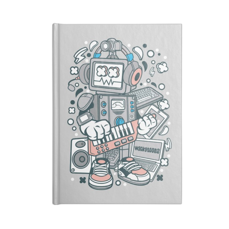 Techno Robot Accessories Blank Journal Notebook by WackyToonz