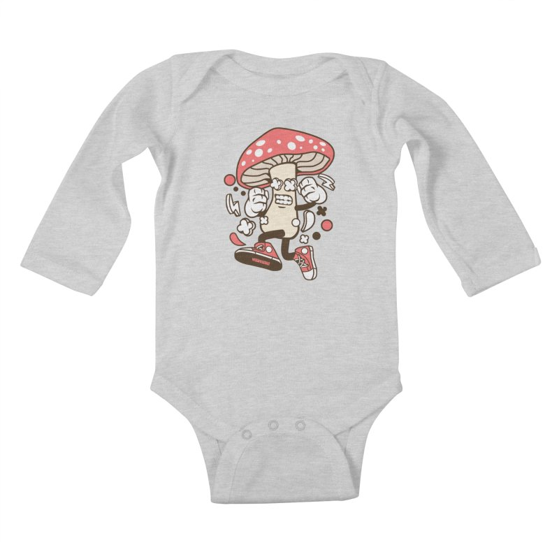 Magic Mushroom Kids Baby Longsleeve Bodysuit by WackyToonz