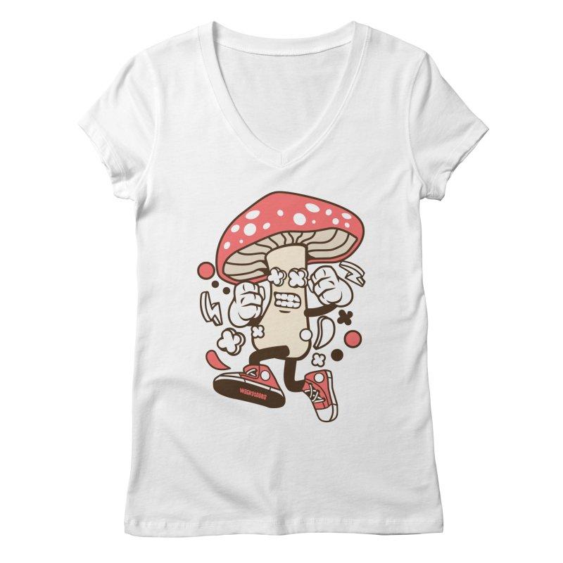 Magic Mushroom Women's Regular V-Neck by WackyToonz