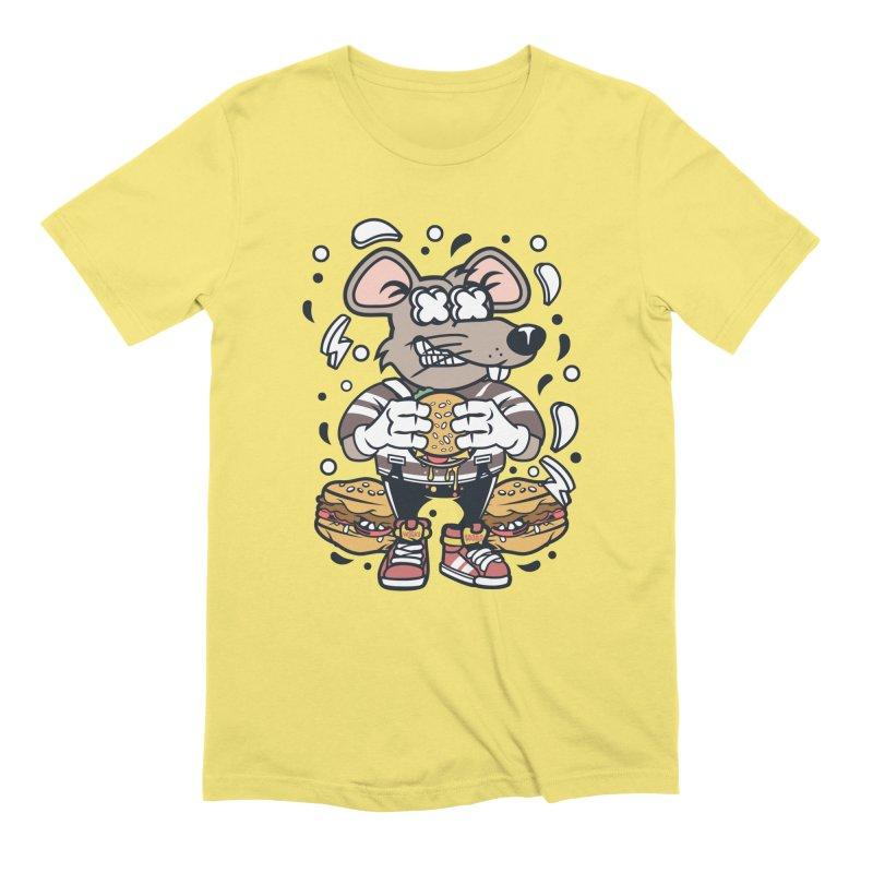 Burger Rat in Men's Extra Soft T-Shirt Light Yellow by WackyToonz