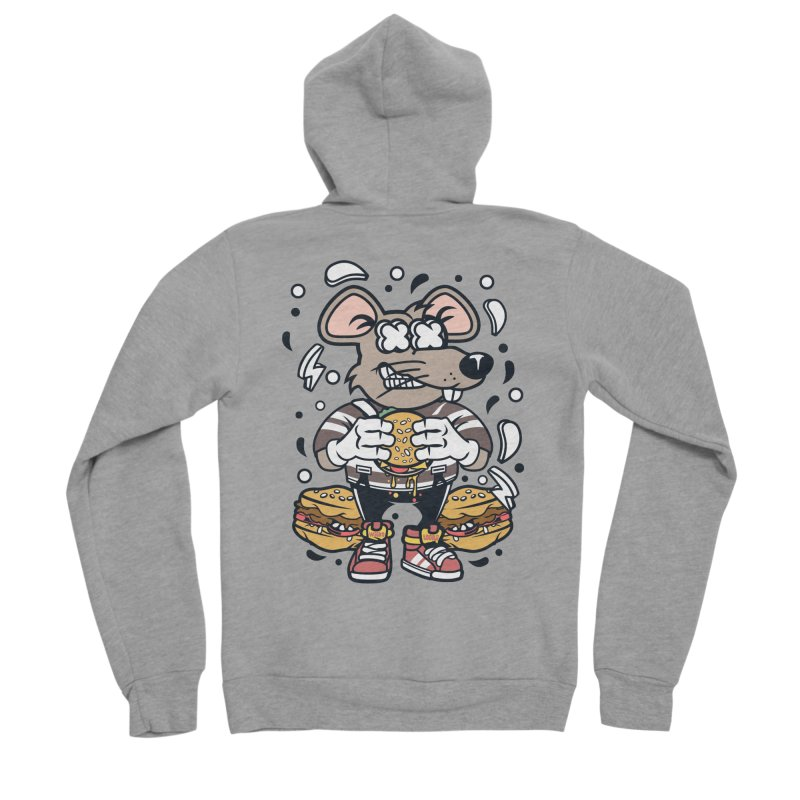 Burger Rat Women's Sponge Fleece Zip-Up Hoody by WackyToonz