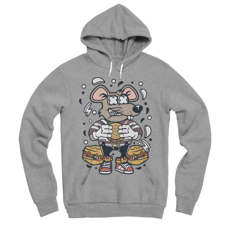 Burger Rat Men's Sponge Fleece Pullover Hoody by WackyToonz