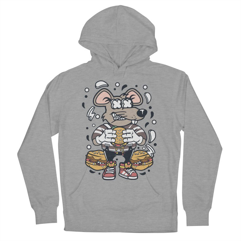 Burger Rat Women's French Terry Pullover Hoody by WackyToonz