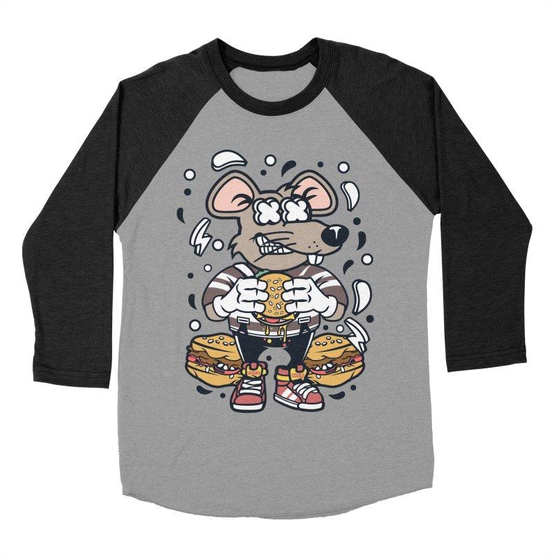 Burger Rat Women's Baseball Triblend Longsleeve T-Shirt by WackyToonz