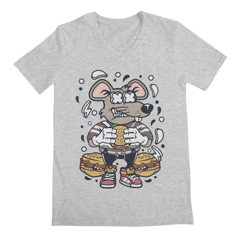 Burger Rat Men's Regular V-Neck by WackyToonz