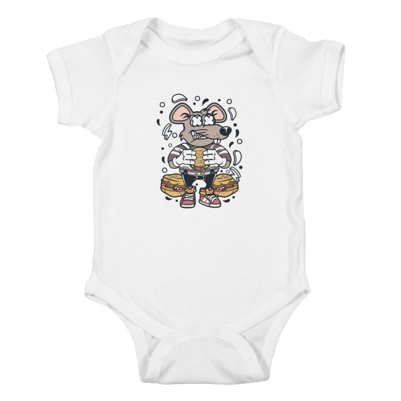 Burger Rat Kids Baby Bodysuit by WackyToonz