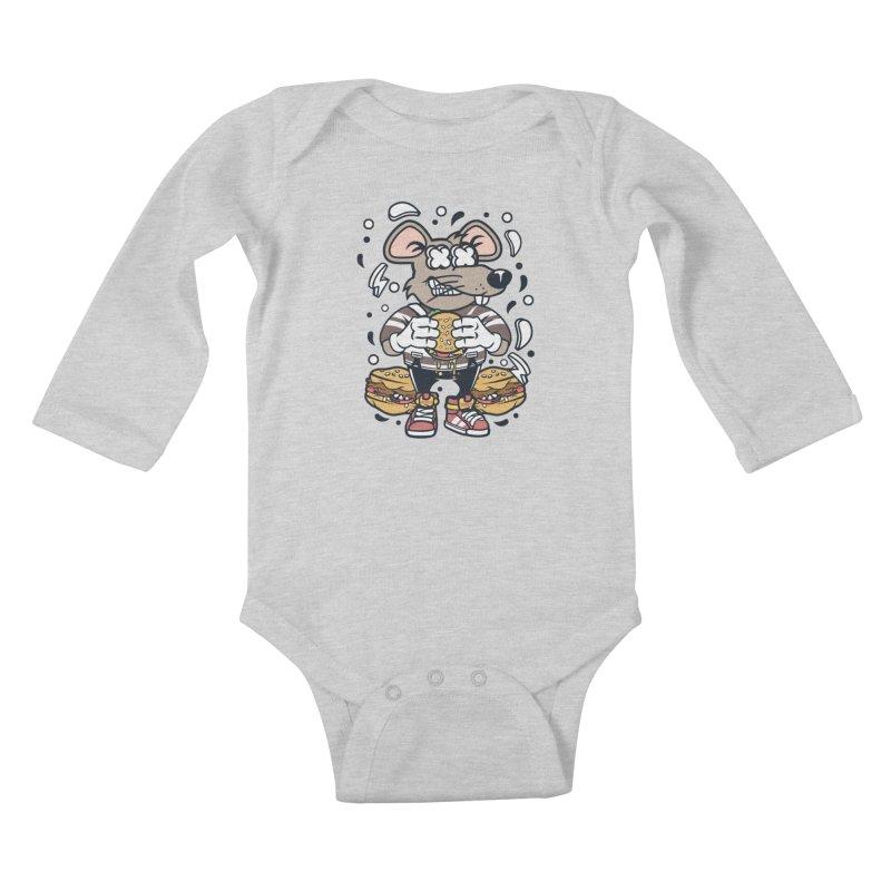 Burger Rat Kids Baby Longsleeve Bodysuit by WackyToonz