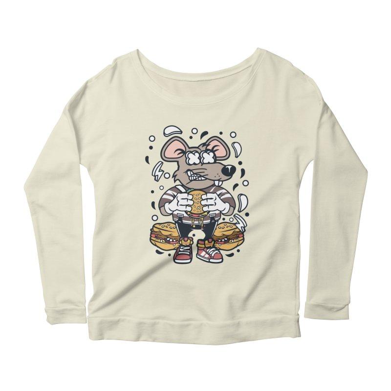 Burger Rat Women's Scoop Neck Longsleeve T-Shirt by WackyToonz