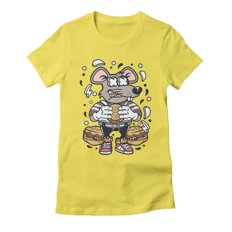 Burger Rat Women's Fitted T-Shirt by WackyToonz