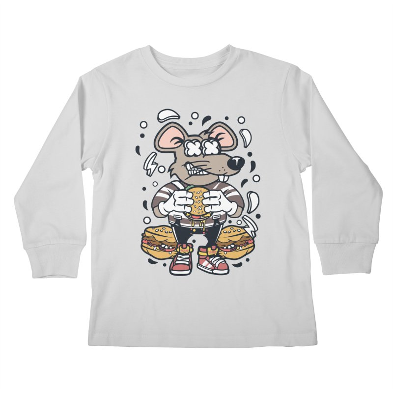 Burger Rat Kids Longsleeve T-Shirt by WackyToonz