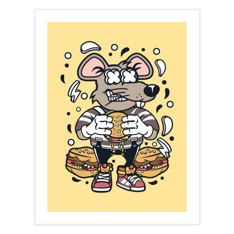 Burger Rat Home Fine Art Print by WackyToonz