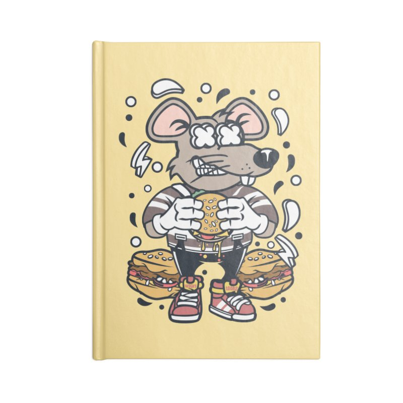 Burger Rat Accessories Blank Journal Notebook by WackyToonz