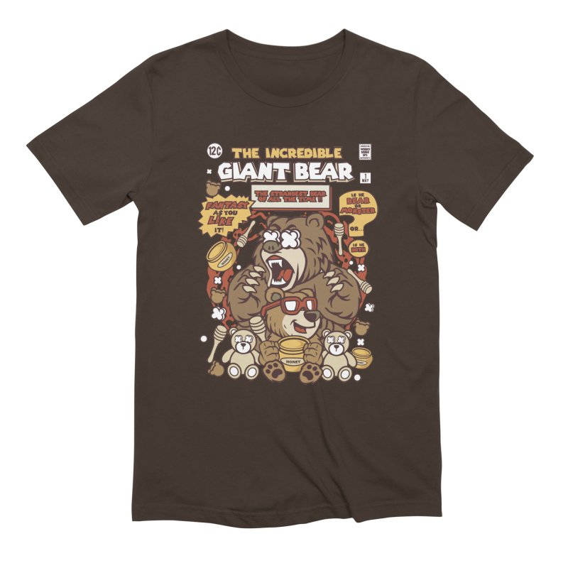 The Incredible Giant Bear in Men's Extra Soft T-Shirt Chocolate by WackyToonz