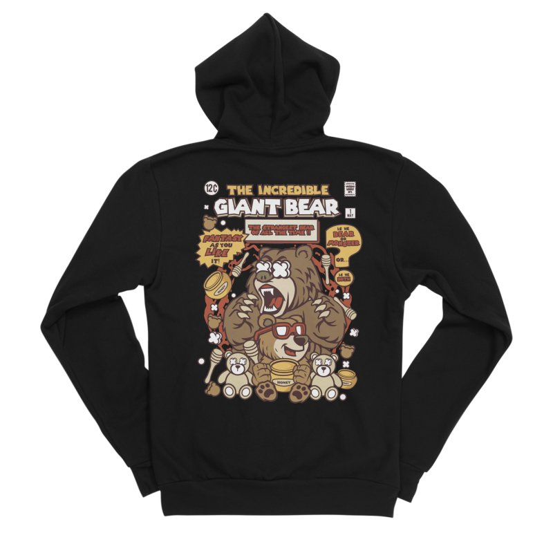 The Incredible Giant Bear Women's Sponge Fleece Zip-Up Hoody by WackyToonz