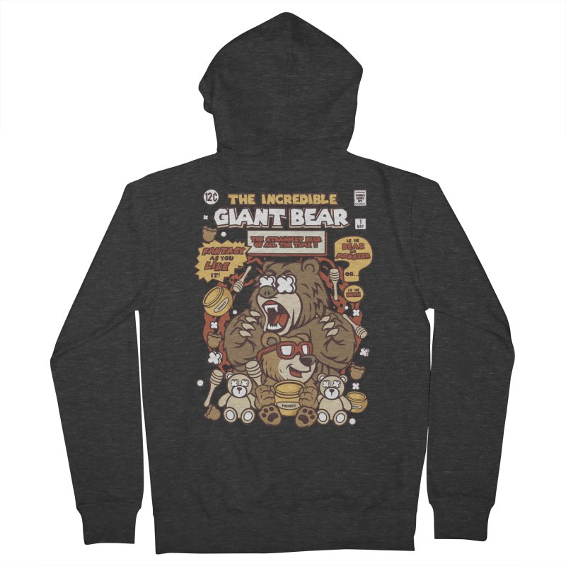 The Incredible Giant Bear Women's French Terry Zip-Up Hoody by WackyToonz