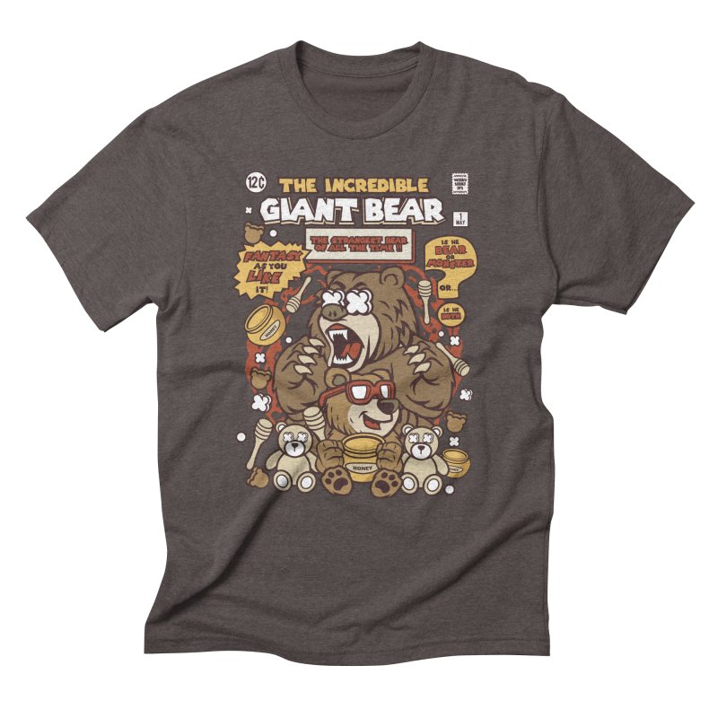 The Incredible Giant Bear Men's Triblend T-Shirt by WackyToonz