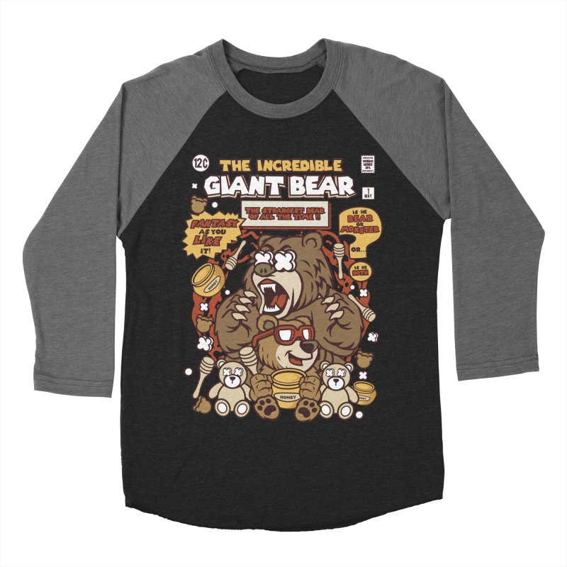The Incredible Giant Bear Men's Baseball Triblend Longsleeve T-Shirt by WackyToonz