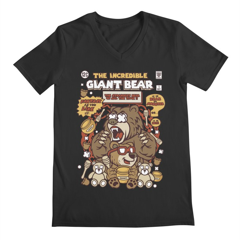 The Incredible Giant Bear Men's V-Neck by WackyToonz