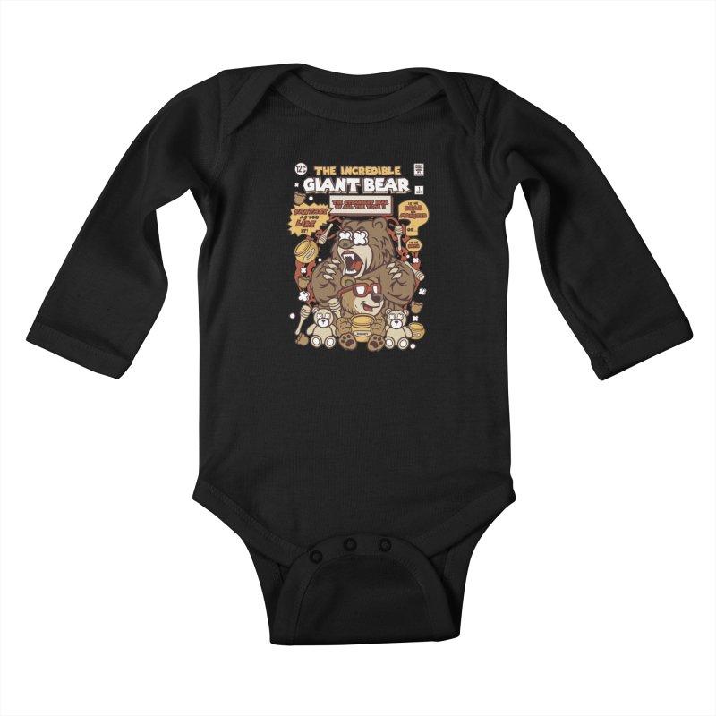 The Incredible Giant Bear Kids Baby Longsleeve Bodysuit by WackyToonz
