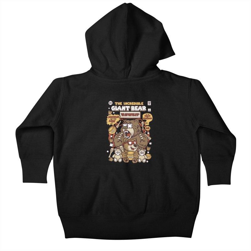 The Incredible Giant Bear Kids Baby Zip-Up Hoody by WackyToonz