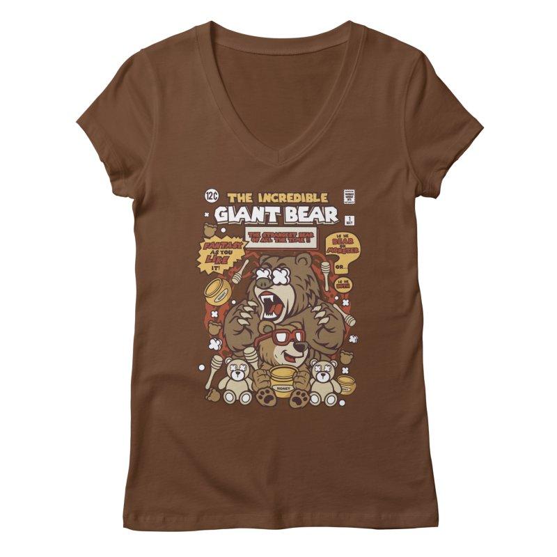 The Incredible Giant Bear Women's Regular V-Neck by WackyToonz