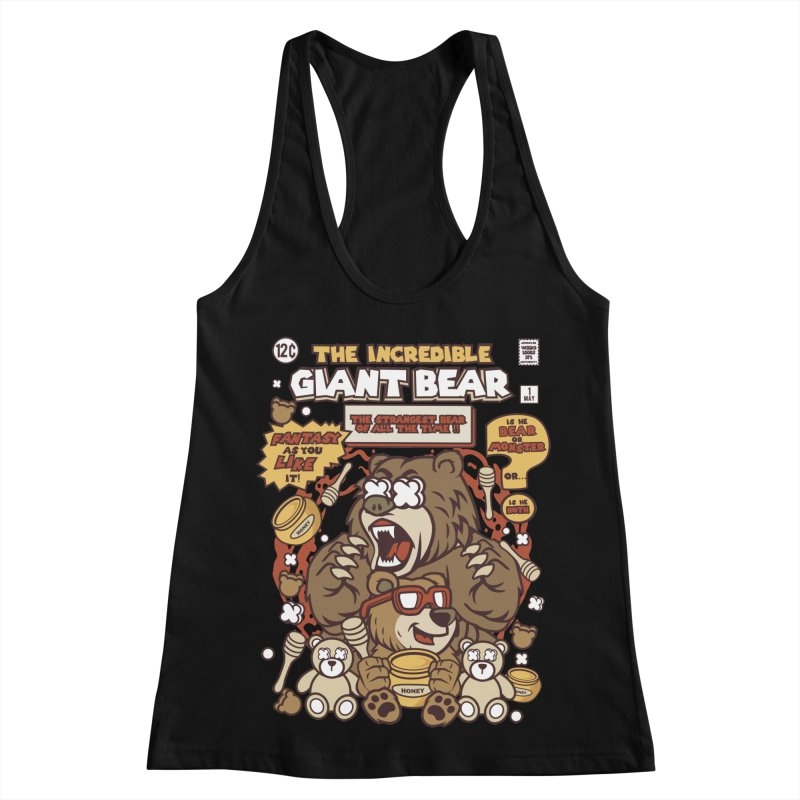 The Incredible Giant Bear Women's Racerback Tank by WackyToonz