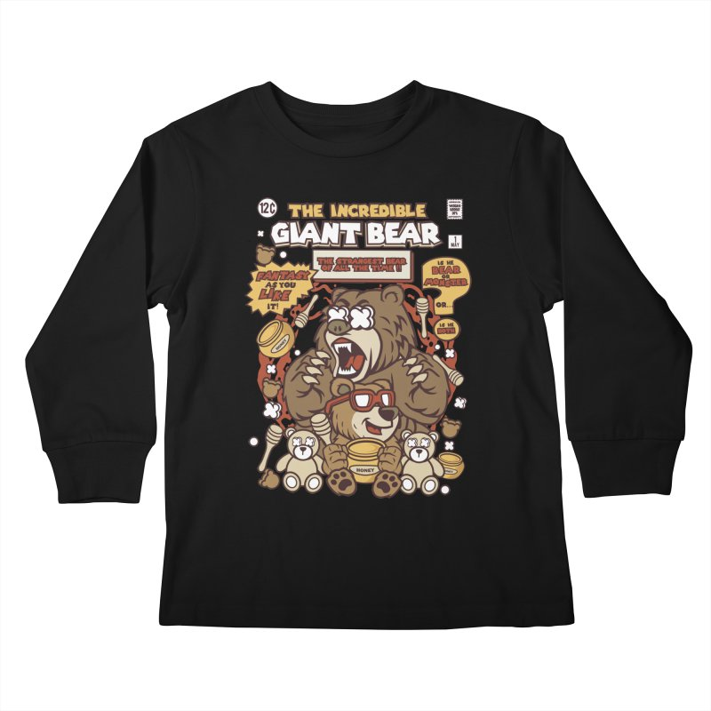 The Incredible Giant Bear Kids Longsleeve T-Shirt by WackyToonz