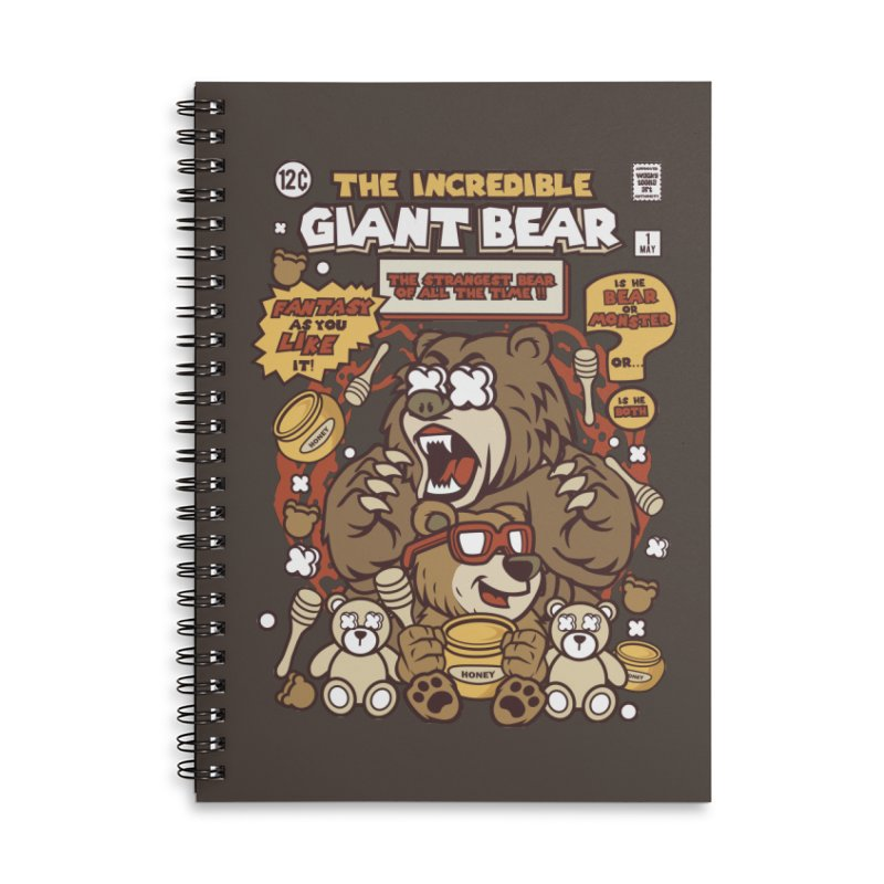 The Incredible Giant Bear Accessories Lined Spiral Notebook by WackyToonz