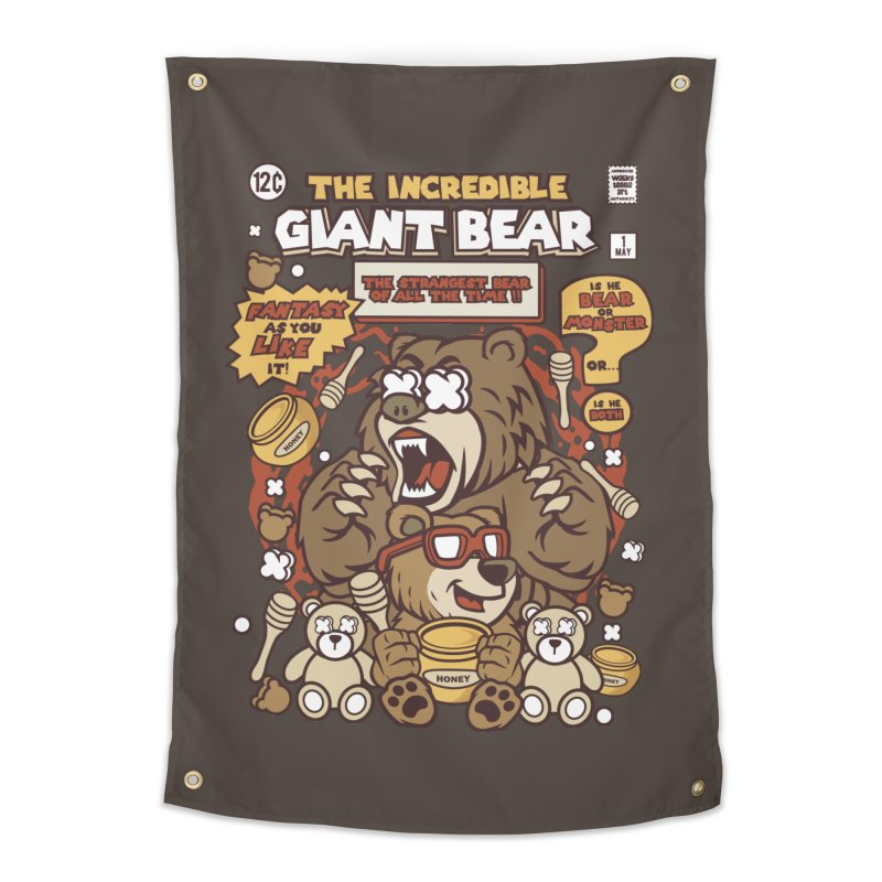 The Incredible Giant Bear Home Tapestry by WackyToonz