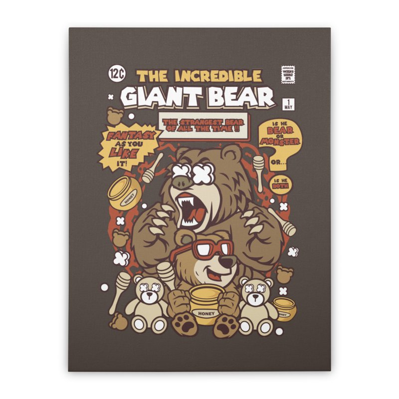 The Incredible Giant Bear Home Stretched Canvas by WackyToonz