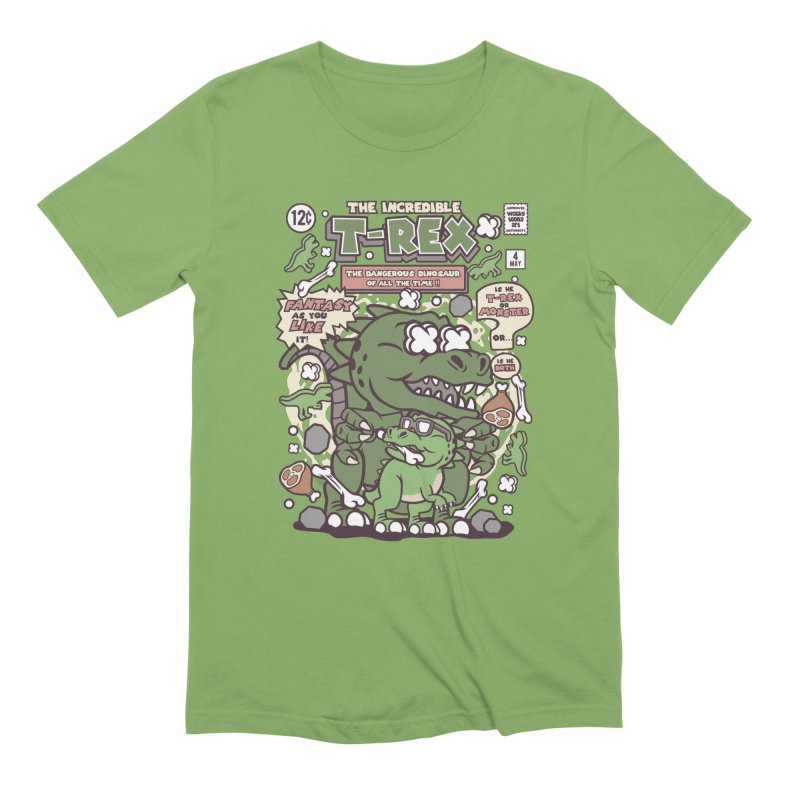 The Incredible T-Rex in Men's Extra Soft T-Shirt Avocado by WackyToonz