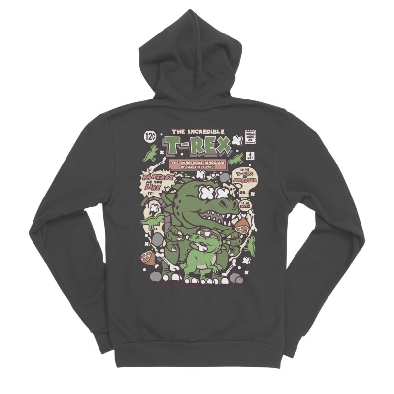 The Incredible T-Rex Women's Sponge Fleece Zip-Up Hoody by WackyToonz