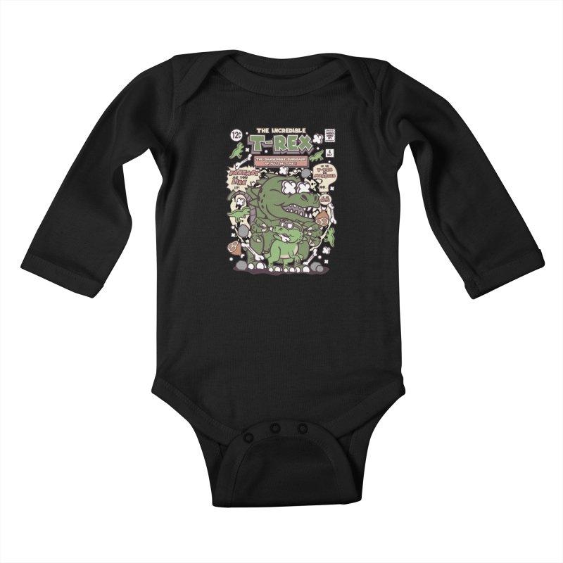 The Incredible T-Rex Kids Baby Longsleeve Bodysuit by WackyToonz