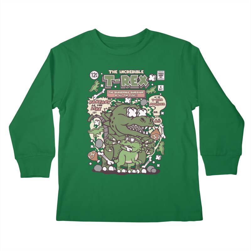 The Incredible T-Rex Kids Longsleeve T-Shirt by WackyToonz