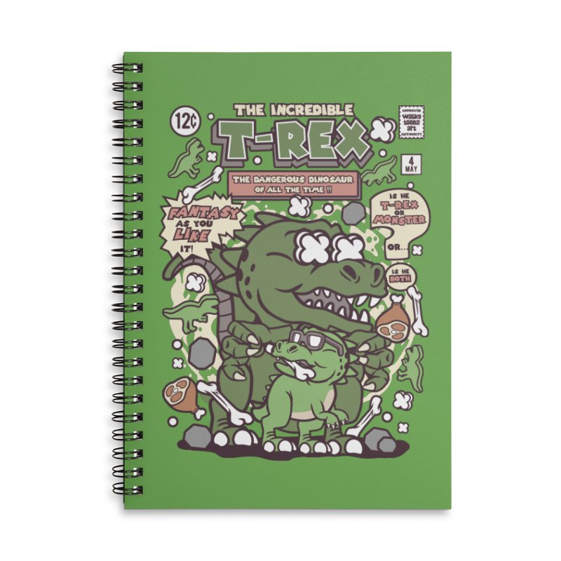 The Incredible T-Rex Accessories Lined Spiral Notebook by WackyToonz