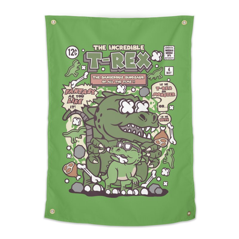 The Incredible T-Rex Home Tapestry by WackyToonz