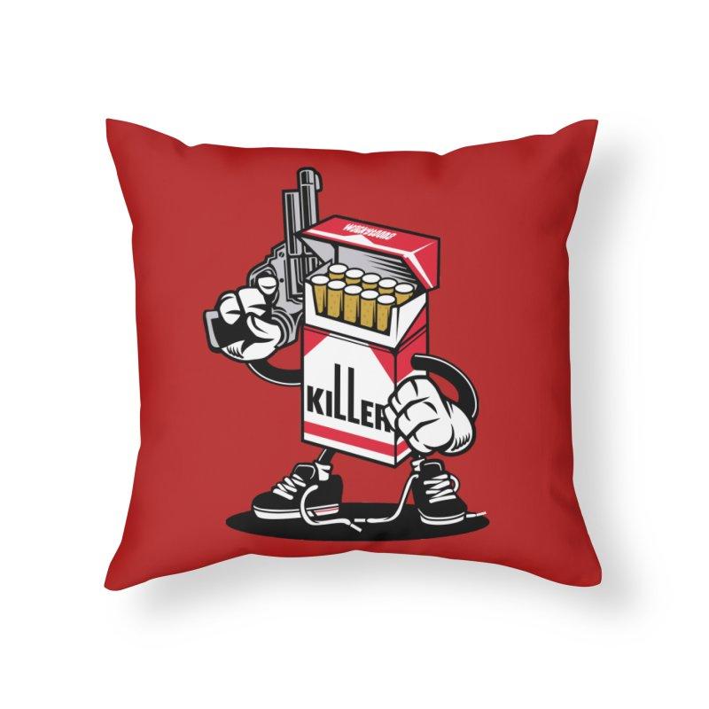 Lung Killer Home Decor Throw Pillow by WackyToonz
